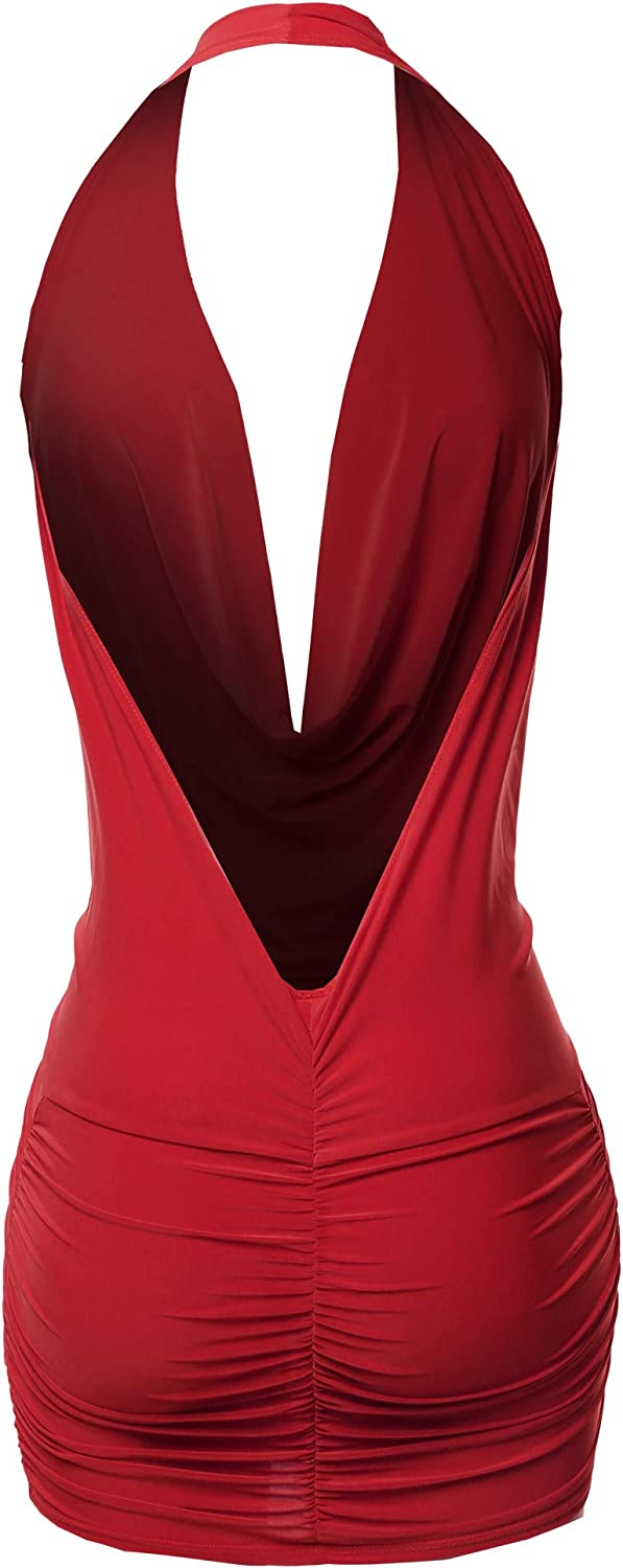 Made by Emma Women's Sexy Halter Neck Ruched Bodycon Backless Party Cocktail Mini Dress