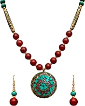 Diyofa Women's Ethnic Wear Fashion Jewellery Floral Design Pendant Necklace Set 5 X 5 X 5 multicolour
