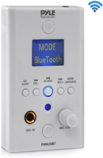 In-Wall Bluetooth Stereo Amplifier - Audio Control Wall Plate Receiver with MP3/USB/SD Readers, LCD Display - Pyle PWA20BT,White