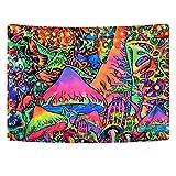 Hleane Tapiz hippy psicodélico para colgar en la pared, tapiz de setas para decoración del hogar para dormitorio 180 x 235 cm