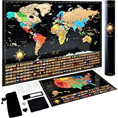 """✈ JOIN US & SEE THE WORLD IN A NEW WAY - Are you a traveler? Does someone you know love traveling? We are travelers and we designed this Large Scratch Off Map (17 x 24"""") for people like you. All capitals, states or countries were drawn by hand with u..."""