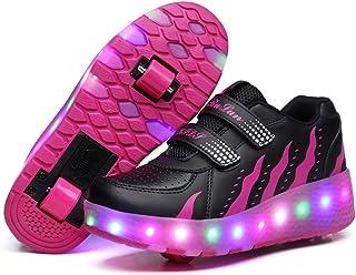 Unisex Niños Zapatillas con 2 Ruedas LED Luz Parpadea Deportes al Aire Libre Skateboard Sneaker Automáticamente Retráctiles Zapatos de Roller para Niño/Niña