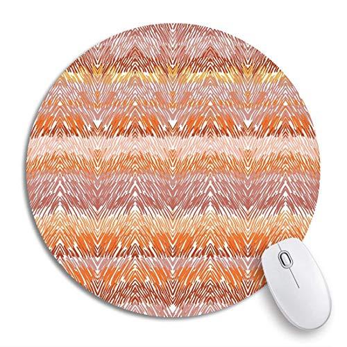Rundes Mauspad Brown Plaid Stricken Tierfell Zickzack Ethnische Orange Rutschfeste Gummibasis Mausmatte Gaming Mousepad für Computer