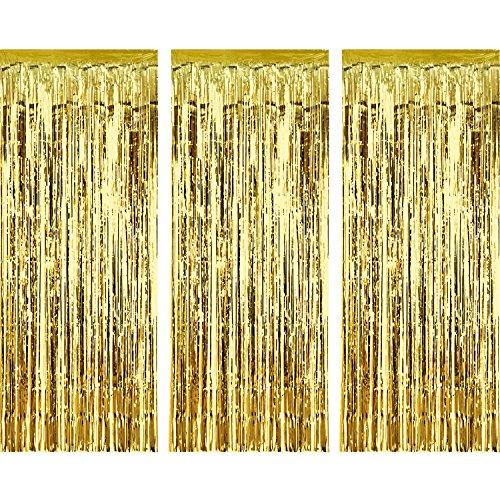 3 Piezas de Cortina de Oropel Metálica, Cortina Brillante de Borlas d