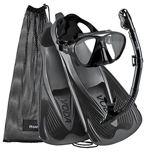 Phantom Aquatics Voda Full Foot Mask Fin Snorkel Set, Made in Italy