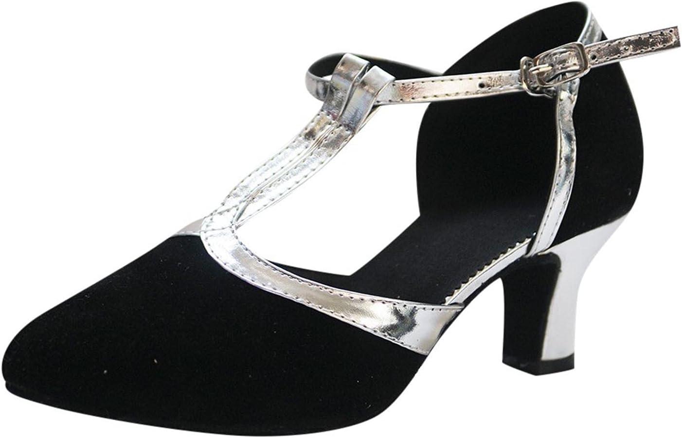 Womens Suede Latin Dance Shoes, Baotou Soft Sole Mid-Heel Square Ballroom Tango Dancing Shoes Sequins Social Dance Shoes