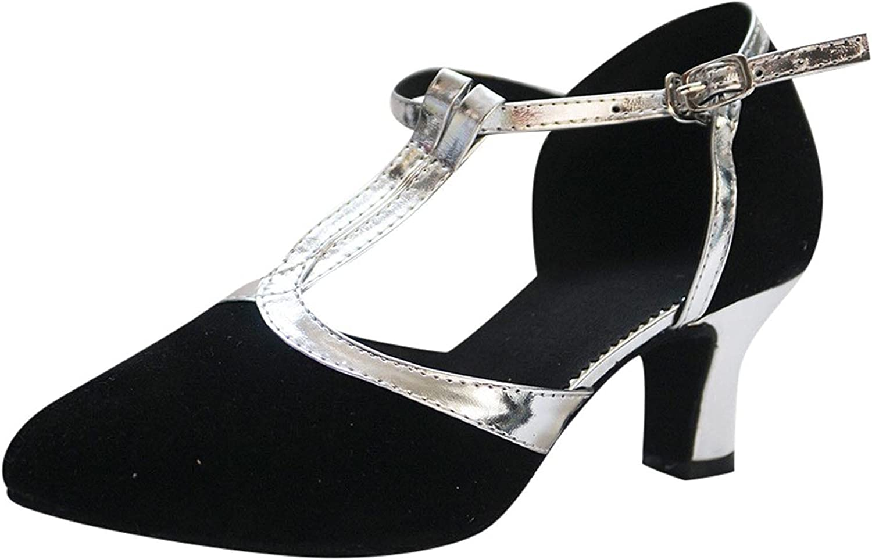 Women's Glitter Sequin Dance Shoes Fashion T Strap Closed-Toe Bu