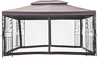 BestMassage 10'x10' Outdoor Metal Gazebo Mosquito Netting Screen Walls Steel Frame Vented Garden Gazebo