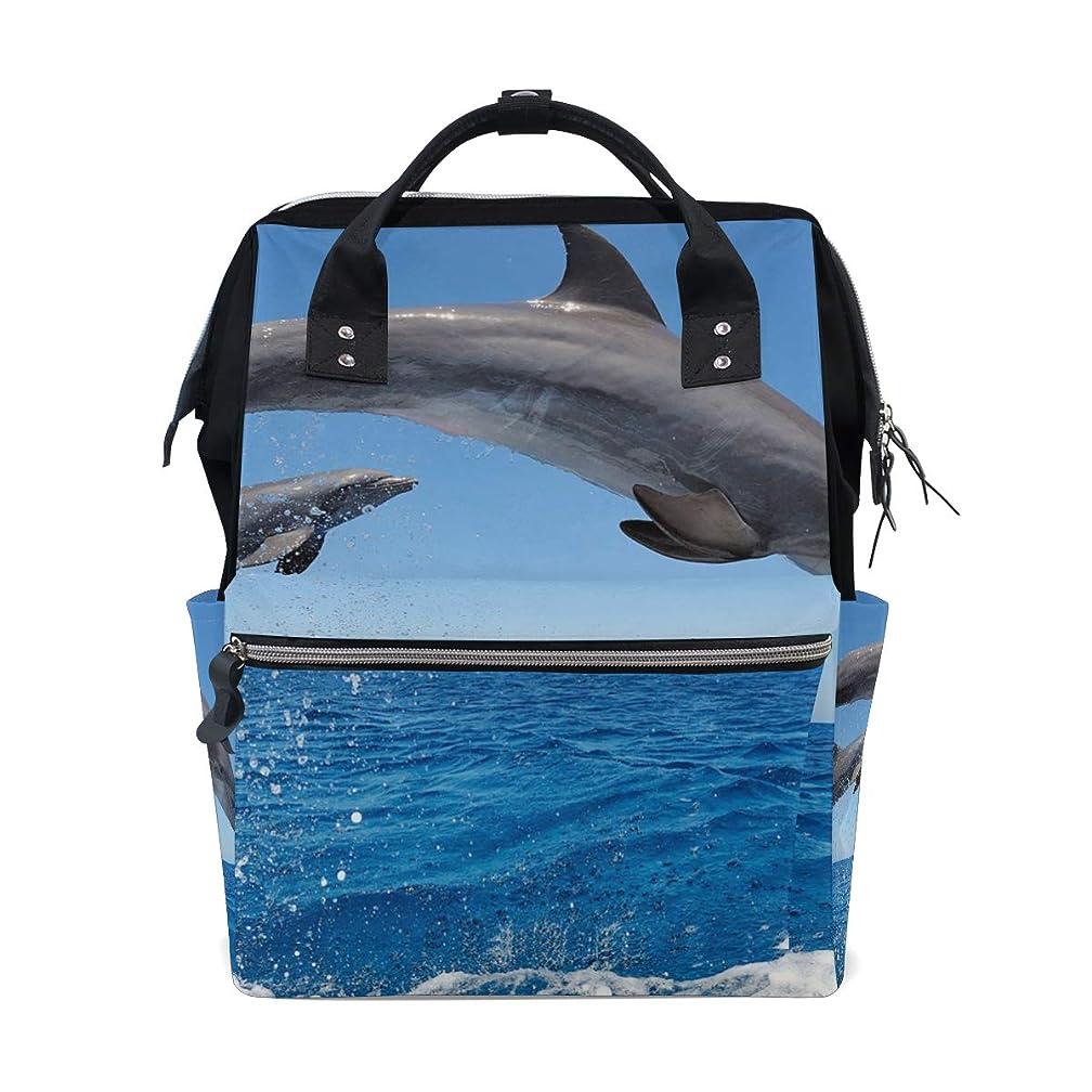 Two Cute Jumping Dolphins School Backpack Large Capacity Mummy Bags Laptop Handbag Casual Travel Rucksack Satchel For Women Men Adult Teen Children
