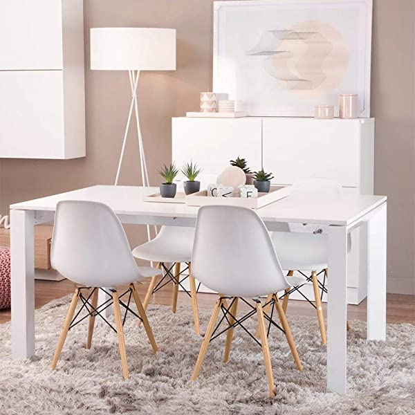 US Fast Shipment Quaanti Set Of 4 Dining Chair Mid Century Modern Plastic Seat And Back Kitchen Room Chairs With Metal Wood Legs For Dining Bedroom Living Room Side Chairs White White
