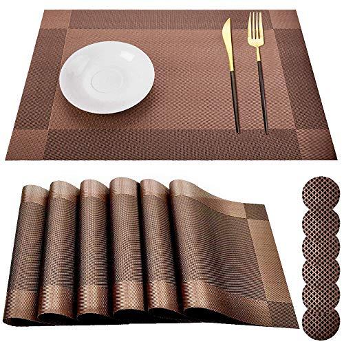 AMAYGA Set di 6 tovagliette Lavabile Place Table PVC Antiscivolo e Protezione dell' Ambiente da Pranzo tappetini (Coffee),per Hotels Ristorante Catering 45x30 cm