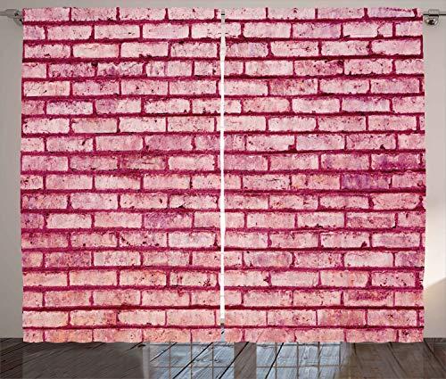 ABAKUHAUS Koraal Gordijnen, Old Brick Wall Facade, Woonkamer Slaapkamer Raamgordijnen 2-delige set, 280 x 175 cm, roze Magenta