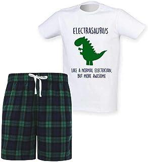 60 Second Makeover Limited Mens Electrician Dinosaur Christmas Tartan Short Pyjama Set Family Matching Twinning