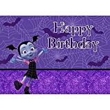 Photography Backdrop 7x5ft Purple Bling Background Vapirina Birthday Party for Girls One Years Old Baby Backdrops