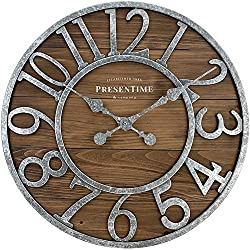PresenTime & Co Vintage Farmhouse Series, Galvanized Rustic Barnwood Clock, 19.5 inch, Galvanized Finish, Arabic Numerals with Weathered Natural Barnwood