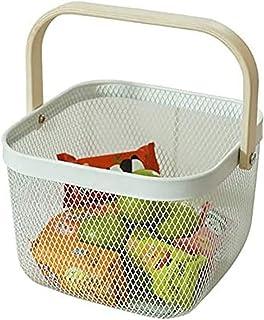 JKXWX Panier de Drainage Panier de Rangement avec poignée en Bois pour Cuisine Maison métal métal Fruits de Pique-Nique Or...