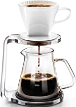 Pour Over Coffee Maker Starter Set with Dripper - Includes Ceramic Dripper,Non-slip bracket and pour over coffee pot(600ml...