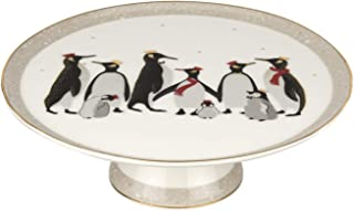 Sara Miller London for Portmeirion Christmas Penguin 10.5 Inch Footed Cake Plate