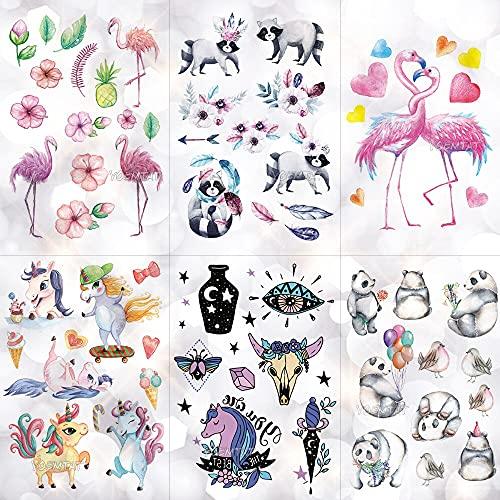 PMSMT Niños Impermeable dwaterproof Pegatinas de Tatuaje de Dibujos Animados Unicornio Panda Boy Brazo Tatuajes temporales Linda Chica Flamingo Horse Flash Tatoos Pony