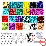 Cuentas de Colores 6000 piezas Abalorios para Hacer Pulseras, 24 Colores Conjunto de Cuentas de Colores con Alfabeto Redondo Cuentas y herramienta de abalorios, 4mm Mini Cuentas para DIY Pulseras