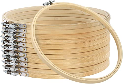Caydo 12 Pieces 8 Inch Embroidery Hoops, Cross Stitch Hoop Ring for Art Craft Handy Sewing