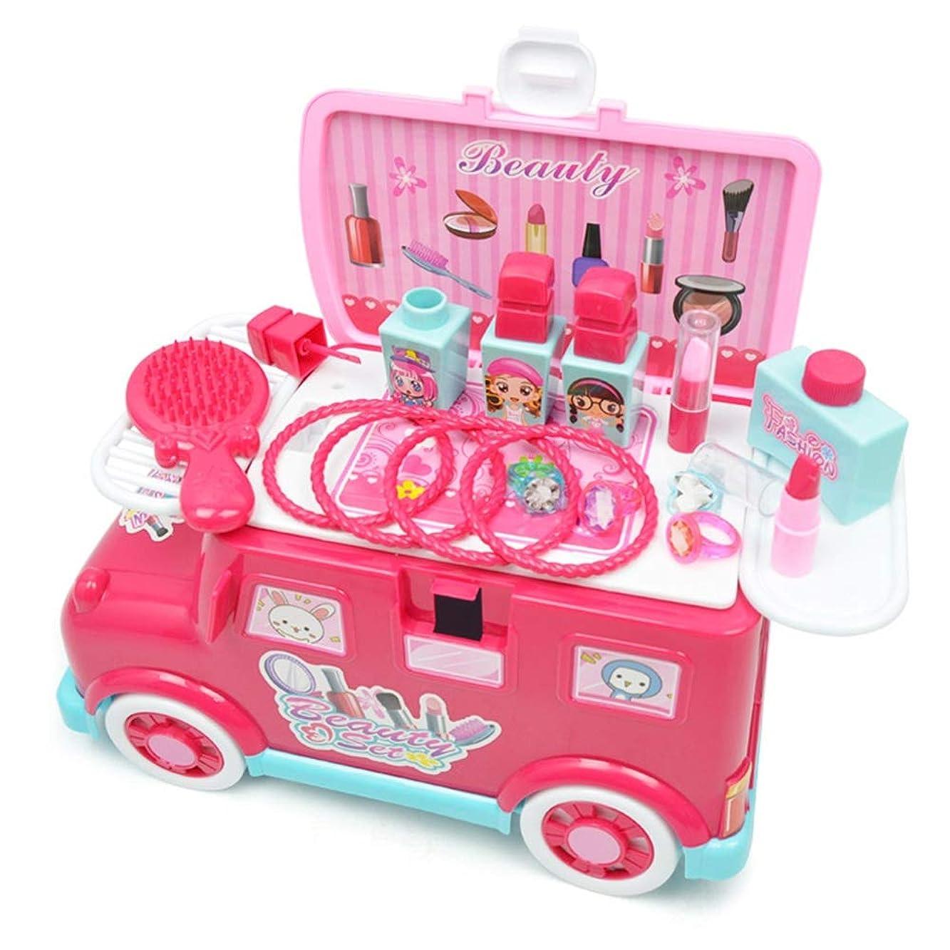 スピン誕生日和らげる化粧台 女の子メイクゲームセット 虚栄心を含むふりメイクキッズメイクキットふりプレイセット女の子のためのメイクセットリトルガールズ 子供のままごと遊びをするド (Color : Pink, Size : 30x15x16.5cm)