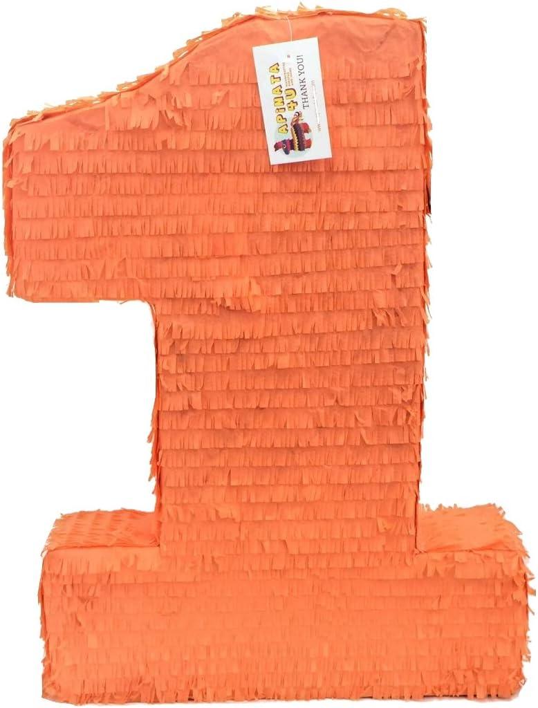 初売り APINATA4U Large Solid 贈呈 Orange Number Birthday One Pinata First