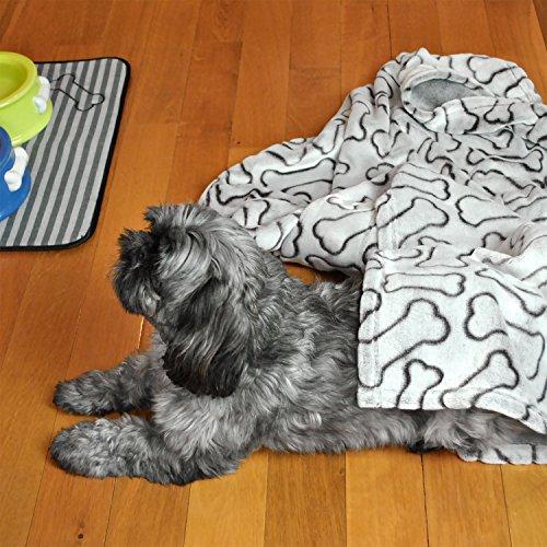 Bone Dry Embossed Bone Print Pet Blanket, Blue