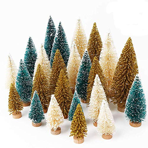 OurWarm 24Pcs Artificial Frosted Sisal Christmas Tree, Bottle Brush Trees with Wood Base DIY Crafts Mini Pine Tree for Christmas Home Table Top Decor Winter Ornaments Green, Gold and Ivory