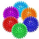6 PACK - Dog Squeaky Toys Value Set Non-Toxic Dog Squeaky Balls Toss Fetch Toys for Dogs TPR Rubber Puppy Toys Spikey Dog Chew Toys for Small Medium Dogs Pet Toys for Puppy (6 Pack Spiky Ball)