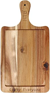 Rectangular Paddle Board LUCK EVERYONE Carved 100% Natural Acacia Wood, 16.5 x 8.7 IN Wooden Cutting Board, Serving Board With Handle For Bread Cheese Steak By HTB