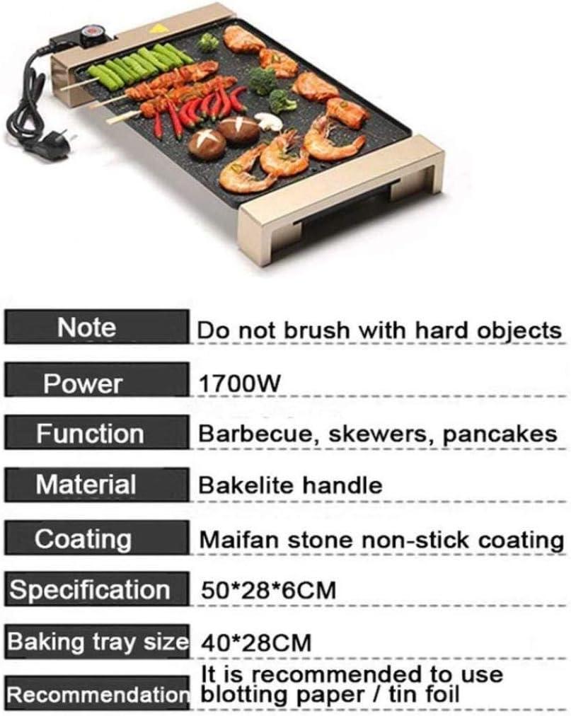 Grill Plate Teppanyaki table BBQ antiadhésifs revêtement Camping Cook, 1700W, Contrôle de la température réglable (40 * 28cm) [Classe énergétique A +] (Color : Black) Gold