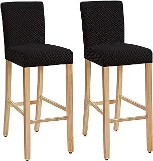 Lot de 4 /Élastique Housse pour Chaise de Salle /à Manger Tabourets Hauts Facai Housse de Tabouret de Bar avec Dossier Extensible Couverture de Chaise de Pub Gris