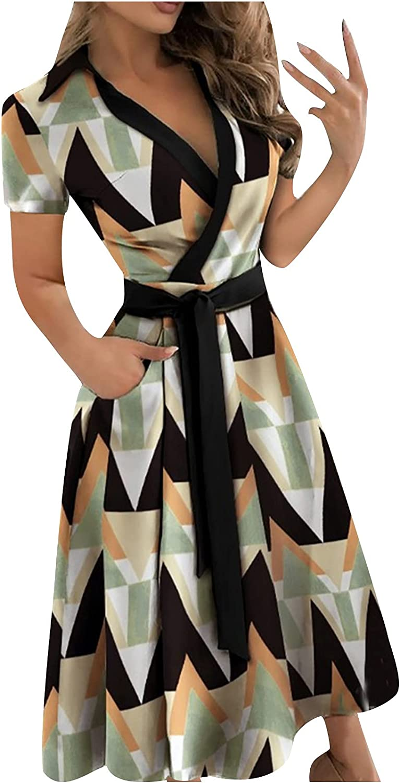 Lucktop Women's Casual Dresses Short Sleeve V Neck Print Wrap Maxi Dresses Belt Boho Maxi Dress Beach Party Maxi Dress