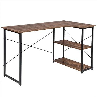 EUGAD 0072ZZ Table de Bureau avec étagère de Rangement Meuble Informatique Table de PC en Bois et métal 120x74x71,5cm Bois Fo