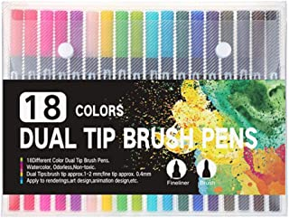 FISISZ 100 PCS Colors FineLiner Dual Tip Brush Pen Drawing Painting Watercolor Art Marker Pens for Coloring Manga Calligraphy,60 white color