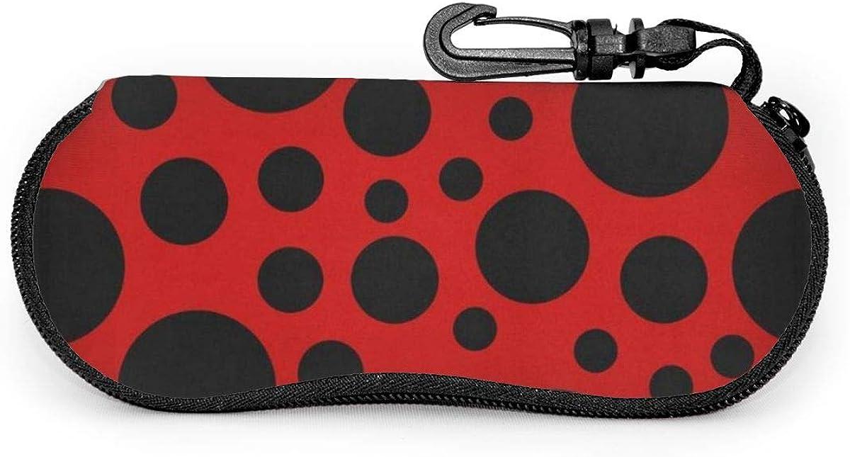 Ladybug Pattern Sunglasses Soft Case Ultra Light Neoprene Zipper Eyeglass Case With Key Chain