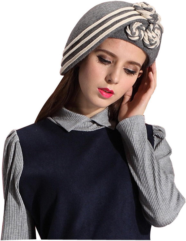 June's Young Ladies 100% Wool Beret Warm Felt Hats&caps Floral