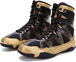 Adult Boxing Shoes, Unisex Fighting Trainers Boots Buffer Anti-Skid Breathable Wrestling Fitness Sneakers
