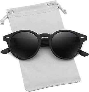 WOWSUN Classic Retro Round Polarized Sunglasses for Women/Men Vintage Designer Style