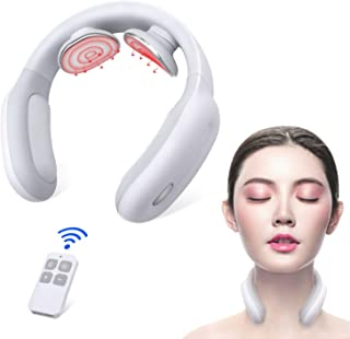 Neck Massager, Electric Pulse Heat Smart Cordless Neck Massage, 3 Modes 15 Strenth Levels for Home, Car, Office, Outdoor and Gift