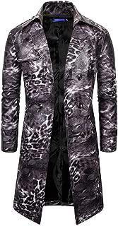 wuliLINL Men's Faux Leather Long Coat Faux Leather Long Trench Coat Steampunk Jacket Coat Leopard Retro Gothic Windbreaker