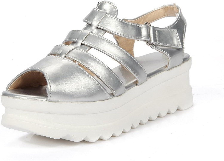 AmoonyFashion Women's PU Solid Hook and Loop Open Toe Kitten Heels Sandals