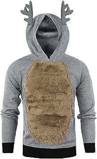 iZHH Antlers Hoodie Mens Christmas Pullover Sweatshirt Long Sleeve Hooded Tops