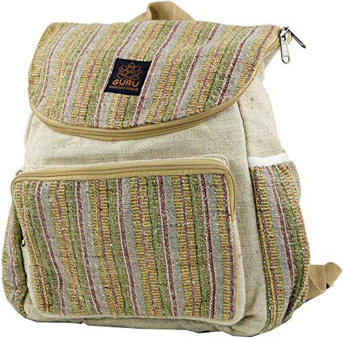Guru-Shop Ethno Hanf Rucksack - Streifen Senffarben, Herren/Damen, Beige, Size:One Size, 40x35x20 cm, Ausgefallene Stofftasche