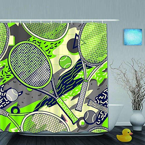 N\A Cortina de Ducha, Raqueta Colorida y Pelota de Tenis en Memphis Design Style Patrón sin Costuras, Juego de decoración de baño de Tela de Tela con Ganchos de plástico