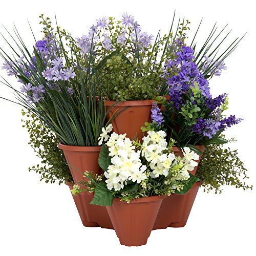 Pure Garden Stacking Flower Pot Tower- Space Saving Set