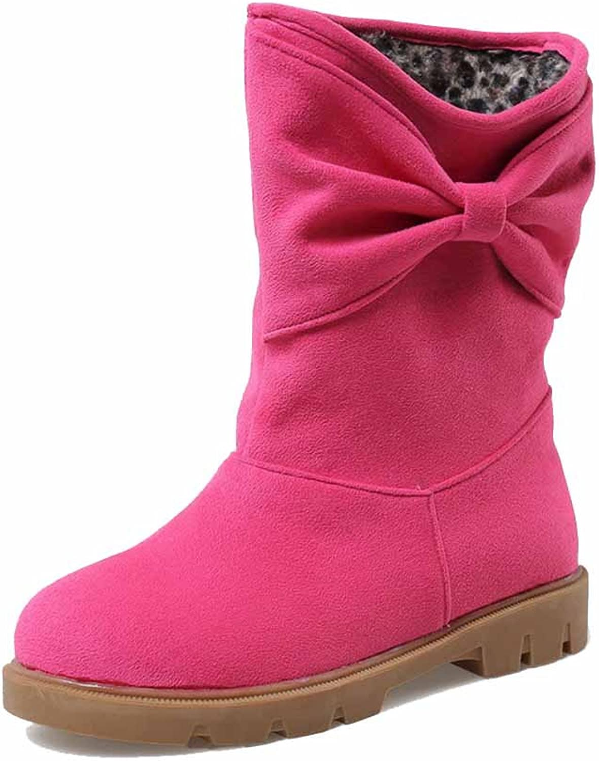 WeiPoot Women's Imitated Suede Low Heels Round Closed Toe Solid Pull On Boots
