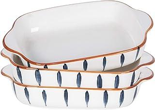 AQUIVER 20oz Ceramic Small Baking Dish - 7'' x 5'' Individual Baking Pan, Color Painted Porcelain Rectangular Bakeware Set...