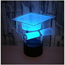 Night Light Bachelor Hat 3D Light Colorful Touch Remote Control 3D Light Graduate Gift 3D Small Table Lamp